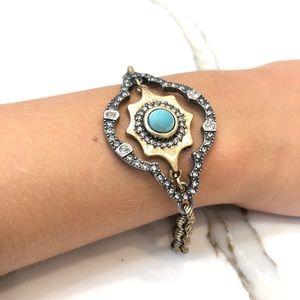Lucky Brand 2 Toned Turquoise Rhinestone Bracelet